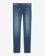 SAINT LAURENT Skinny fit U Low Waisted Skinny Jean in Dark Vintage Blue Denim f