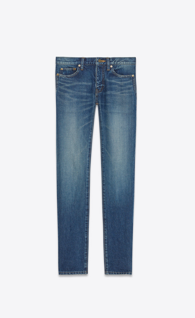 SAINT LAURENT Skinny fit U Low Waisted Skinny Jean in Dark Vintage Blue Denim a_V4
