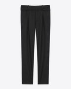 SAINT LAURENT Classic Pant U Military Cross-Over Belted Trouser in Black Gabardine f