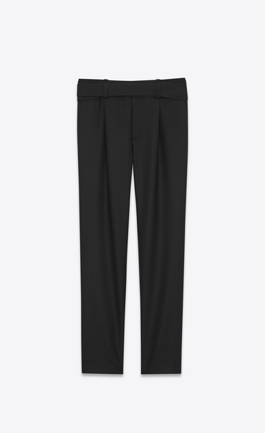 SAINT LAURENT Classic Pant U Military Cross-Over Belted Trouser in Black Gabardine a_V4