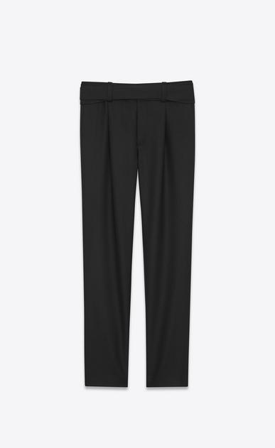 SAINT LAURENT Classic Pant U Military Cross-Over Belted Trouser in Black Gabardine v4