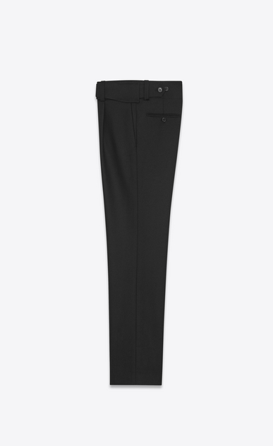 SAINT LAURENT Classic Pant U Military Cross-Over Belted Trouser in Black Gabardine b_V4