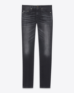 SAINT LAURENT Skinny fit U Low Waisted Skinny Jean in Dark Black Stretch Denim f