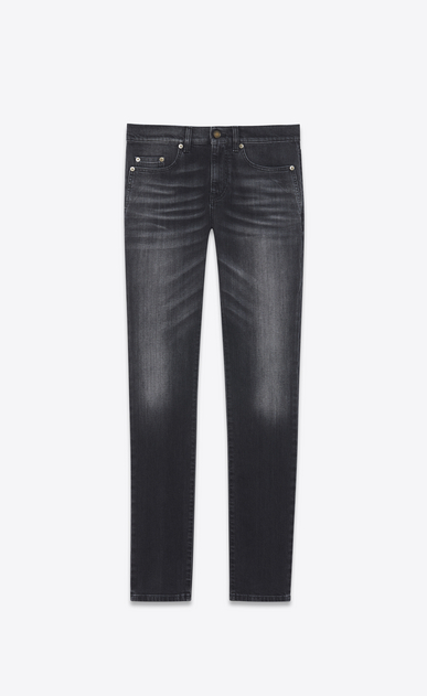 SAINT LAURENT Skinny fit Uomo Jeans skinny a vita bassa in denim stretch nero a_V4