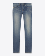 SAINT LAURENT Skinny fit U Low Waisted ripped knee Skinny Jean in Dark Vintage Blue Denim f