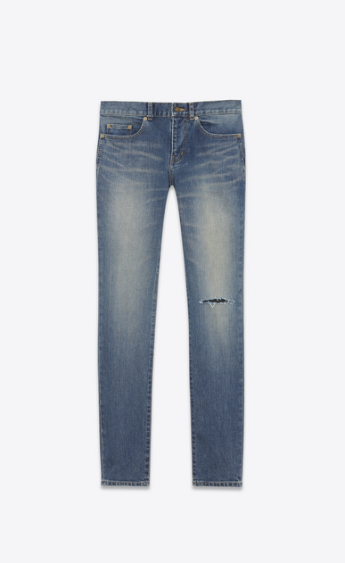 SAINT LAURENT Skinny fit Man Low Waisted ripped knee Skinny Jean in Dark Vintage Blue Denim a_V4