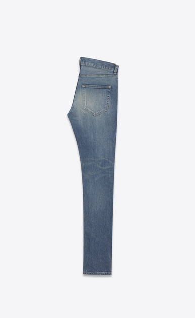 SAINT LAURENT Skinny fit Man Low Waisted ripped knee Skinny Jean in Dark Vintage Blue Denim b_V4