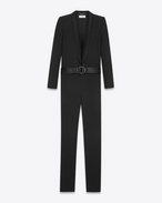 SAINT LAURENT Classic Pant U Tuxedo overalls with shawl collar in gabardine and black satin f