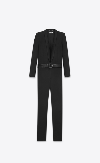 SAINT LAURENT Classic Pant U Tuxedo overalls with shawl collar in gabardine and black satin a_V4
