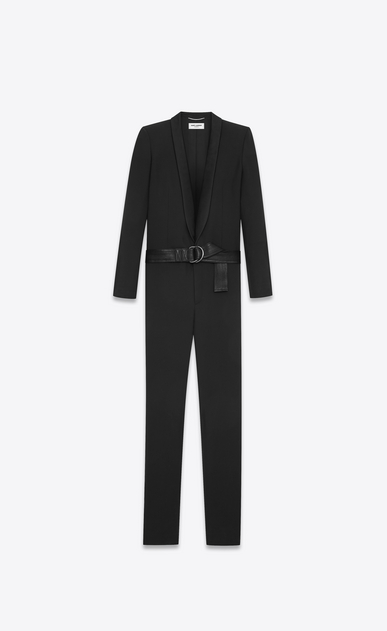 SAINT LAURENT Classic Pant U Tuxedo overalls with shawl collar in gabardine and black satin b_V4