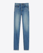 SAINT LAURENT Slim fit D Jeans tight slim a vita media blu vintage in denim  f