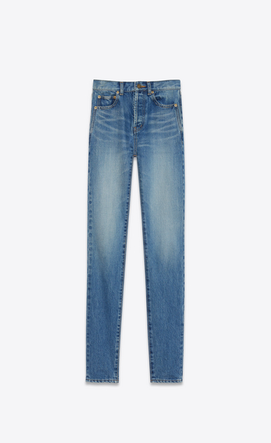 SAINT LAURENT Slim fit Damen Slim-Fit-Jeans mit mittlerer Leibhöhe aus blauem Vintage-Denim  a_V4