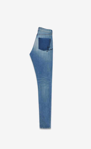 SAINT LAURENT Slim fit Damen Slim-Fit-Jeans mit mittlerer Leibhöhe aus blauem Vintage-Denim  b_V4