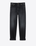 SAINT LAURENT Baggy D Embroidered baggy jeans in black denim f
