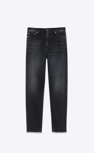 SAINT LAURENT Baggy D Embroidered baggy jeans in black denim a_V4