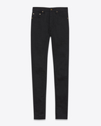 SAINT LAURENT Skinny fit D Jeans skinny a vita alta neri in denim stretch a effetto lievemente used  f
