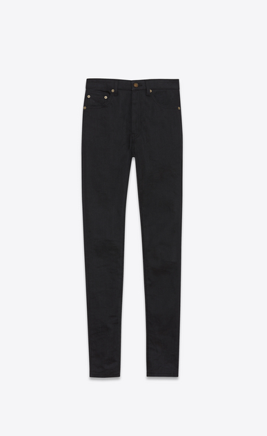 Black high-waist skinny jeans in stretch denim with slightly worn effect