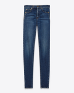 SAINT LAURENT Slim fit D Mid-waist tight slim-fit jeans in blue denim f