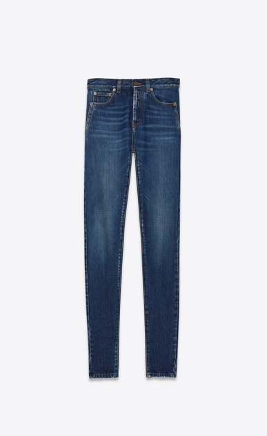 SAINT LAURENT Slim fit Damen Slim-Fit-Jeans mit mittlerer Leibhöhe aus blauem Denim a_V4