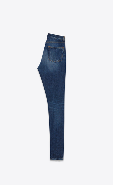 SAINT LAURENT Slim fit Damen Slim-Fit-Jeans mit mittlerer Leibhöhe aus blauem Denim b_V4