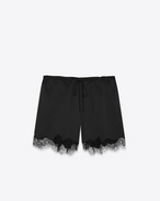 SAINT LAURENT Short Pants D Bermuda shorts in satin and black lace f