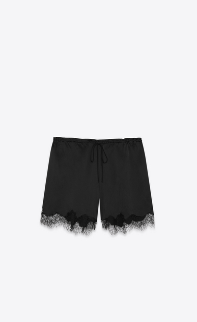 SAINT LAURENT Short Trousers Woman Bermuda shorts in satin and black lace a_V4