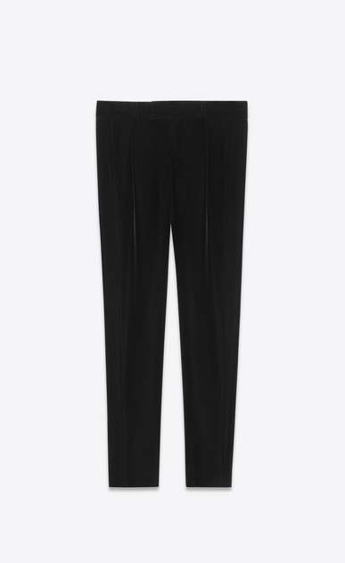 SAINT LAURENT Classic Pant D Low-waist pleated pants in black velvet a_V4