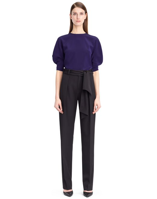 lanvin wool gabardine pants women