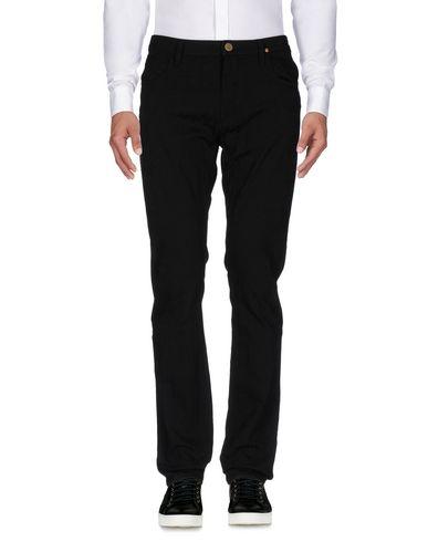 VIVIENNE WESTWOOD ANGLOMANIA Pantalon homme. toile, jacquard, logo, applications en cuir, couleur unie de base, taille haute, regular fit, jambes droi