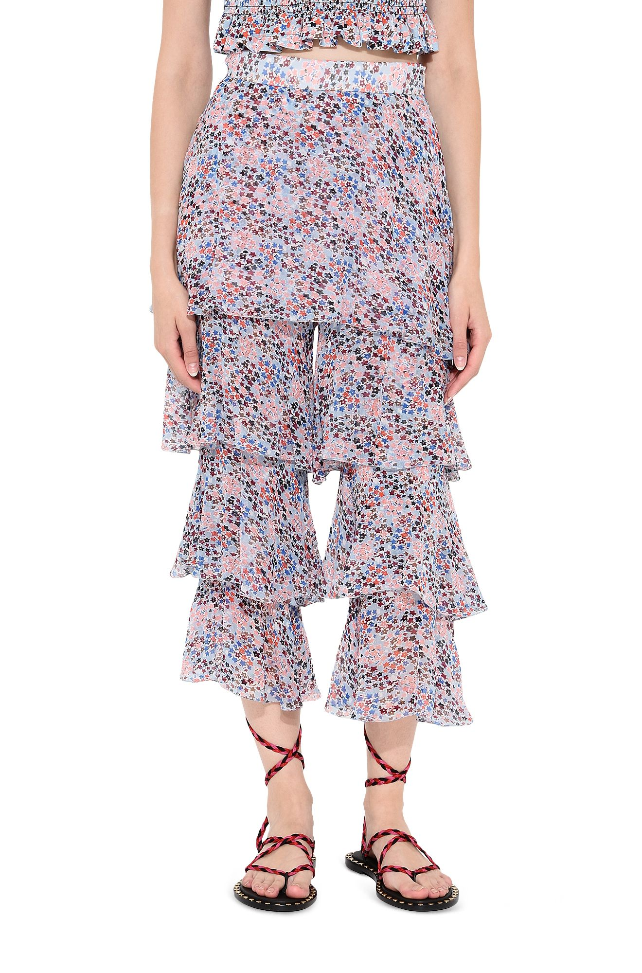 PHILOSOPHY di LORENZO SERAFINI SKIRT D Wraparound skirt with flower micro pattern r