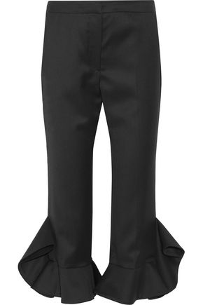 GOEN.J Ruffle-trimmed wool flared pants