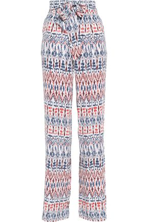 JOIE Printed silk wide-leg pants