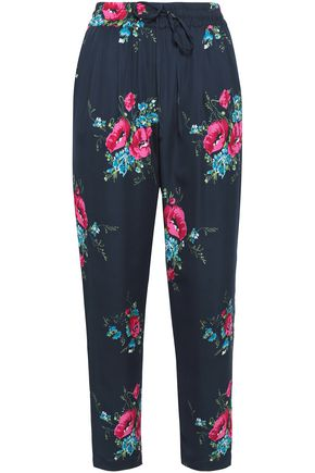 JOIE Luka floral-print silk slim-leg pants