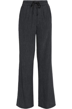 JOIE Aryn striped washed-silk wide-leg pants