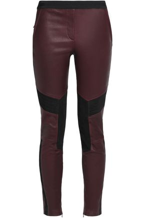BELSTAFF Leather and suede slim-leg pants