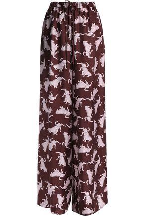 VIONNET Printed silk wide-leg pants