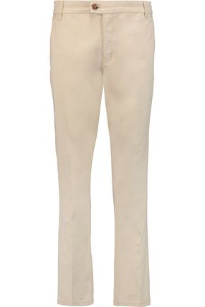 TORY BURCH Selena cotton-blend poplin straight-leg pants