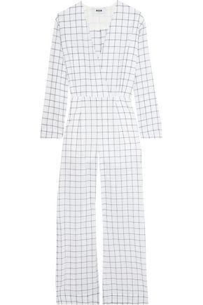 MSGM Checked cotton-blend jumpsuit