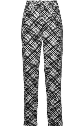 EQUIPMENT Hadley checked washed-silk track pants