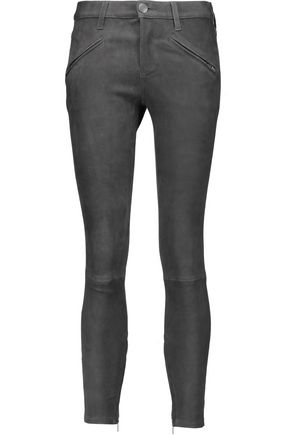CURRENT/ELLIOTT Mid-rise stretch-suede skinny pants