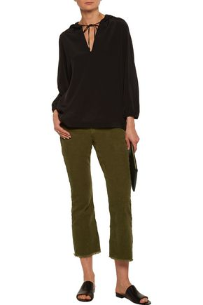 CURRENT/ELLIOTT The Kick cropped mid-rise corduroy flared jeans
