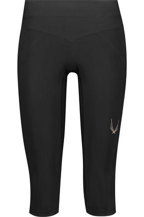 LUCAS HUGH Cropped mesh-paneled stretch-jersey leggings