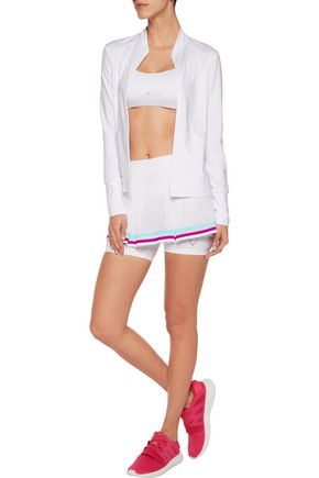 LUCAS HUGH Striped pleated mesh and stretch-jersey shorts