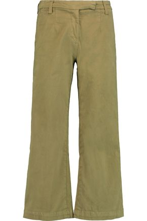 CURRENT/ELLIOTT Cropped cotton-blend velvet flared pants
