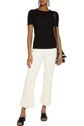 PROENZA SCHOULER Cropped ribbed stretch-knit bootcut pants