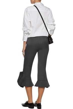 GOEN.J Cropped ruffled wool-cady bootcut pants