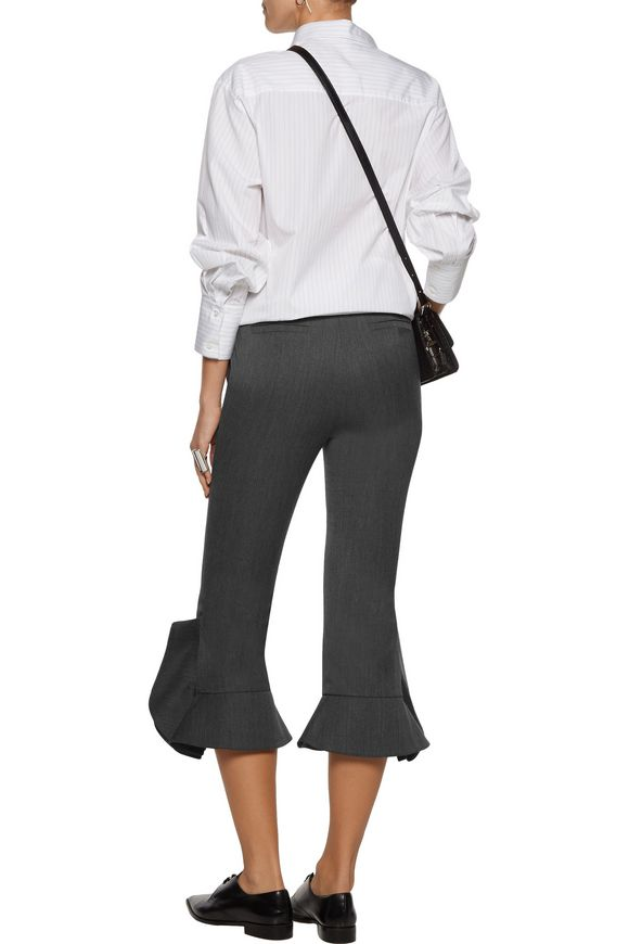 Striped satin and canvas wide-leg pants | GOEN.J | Sale up to 70% off | THE  OUTNET