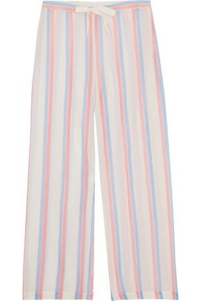 SOLID & STRIPED Striped cotton wide-leg pants