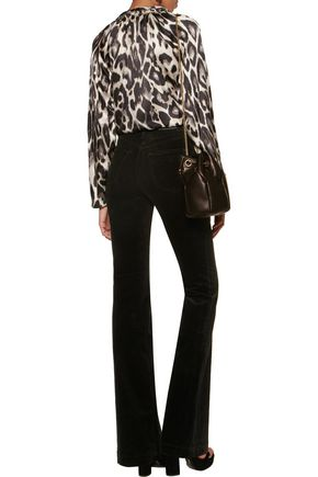 J BRAND Maria mid-rise cotton-blend velvet flared pants