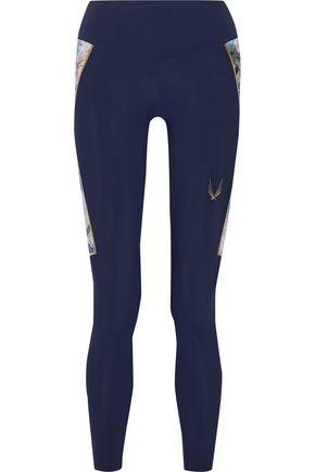 lucas hugh female lucas hugh woman nordica printed stretch leggings midnight blue size xs